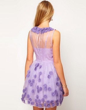 Image 2 ofASOS Silk Skater Dress in Floral Applique