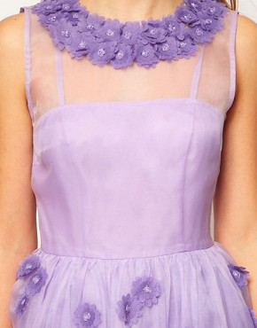 Image 3 ofASOS Silk Skater Dress in Floral Applique