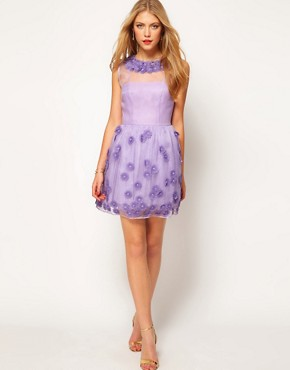 Image 4 ofASOS Silk Skater Dress in Floral Applique