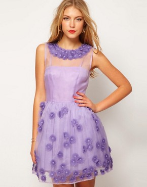 Image 1 ofASOS Silk Skater Dress in Floral Applique