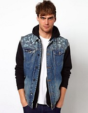 River Island Bronson Denim Gilet With Camo