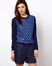 BZR Cardigan in Printed Polka Dot