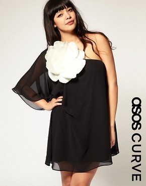 Image 1 ofASOS CURVE Huge Corsage Chiffon Dress