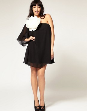 Image 4 ofASOS CURVE Huge Corsage Chiffon Dress