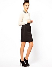 Oasis Pencil Skirt With Eyelet Detailing