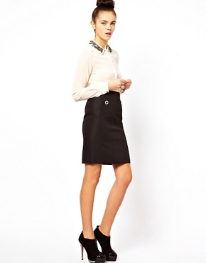 Image 1 ofOasis Pencil Skirt With Eyelet Detailing