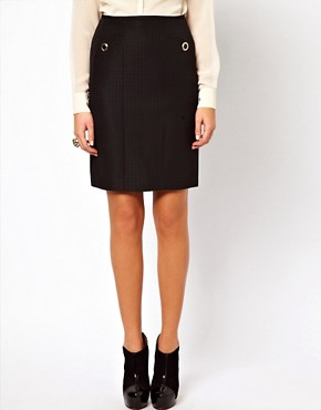 Image 4 ofOasis Pencil Skirt With Eyelet Detailing