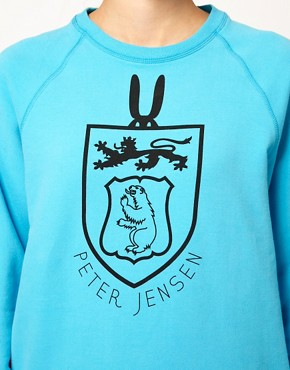 Image 3 ofPeter Jensen College Sweatshirt in Brushed Cotton