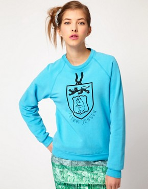 Image 1 ofPeter Jensen College Sweatshirt in Brushed Cotton
