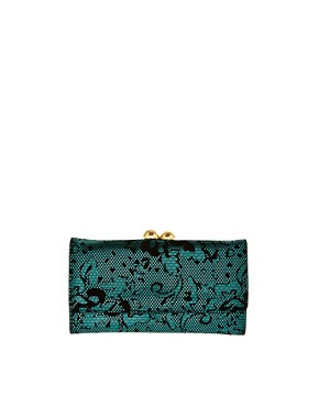Image 1 ofASOS Metallic Jacquard Ball Clip Frame Purse