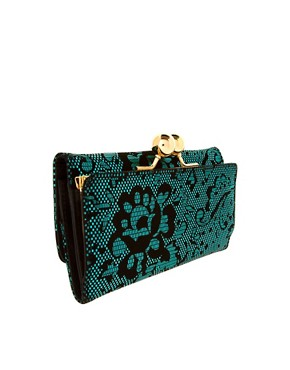 Image 2 ofASOS Metallic Jacquard Ball Clip Frame Purse