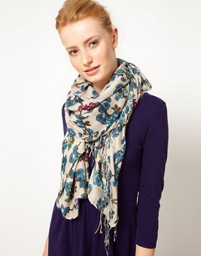 Image 1 ofWarehouse China Poppy Print Scarf