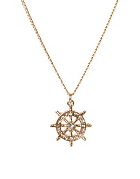 Image 1 of River Island Ship Wheel Pendant
