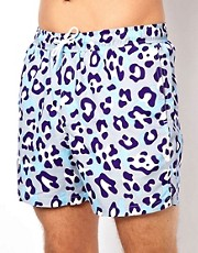 ASOS Swim Shorts With Leopard Print