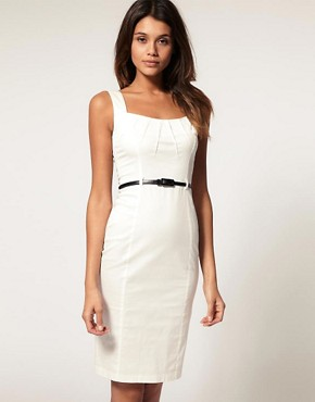Image 1 ofTFNC Pleat Front Belted Pencil Dress