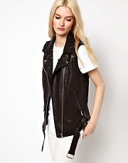 Selected Shanny Sleeveless Leather Biker Jacket