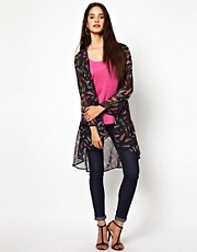 Oh My Love Feather Print Kimono Top