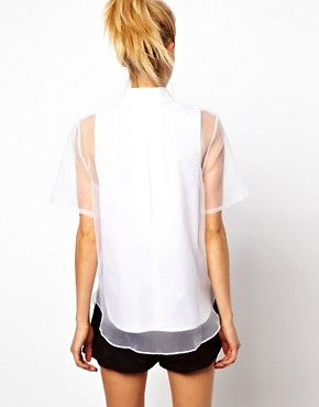 Image 2 ofASOS Shirt With Oversized Placket And Sheer Overlay