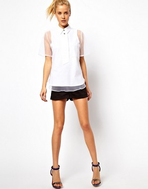 Image 4 ofASOS Shirt With Oversized Placket And Sheer Overlay