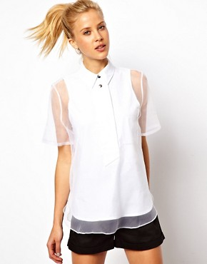 Image 1 ofASOS Shirt With Oversized Placket And Sheer Overlay