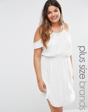 New Look Plus Cold Shoulder Waisted Dress