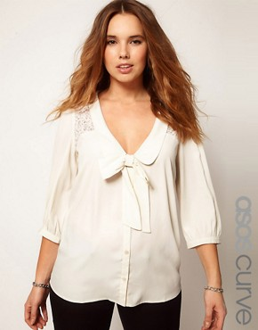 Image 1 ofASOS CURVE Exclusive Blouse With Lace