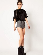 ASOS Leather Shorts with Zip Detail