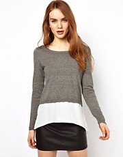 Warehouse Woven Hem Sweater