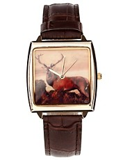 ASOS Leather Stag Watch