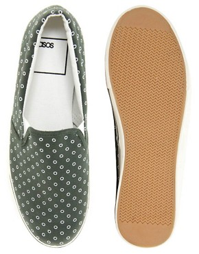Image 3 ofASOS Slip On Plimsolls With Circle Print