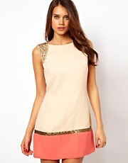 Little Mistress Embellished Shoulder Mini Dress
