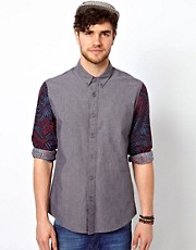 ASOS Chambray Shirt With Contrast Sleeves