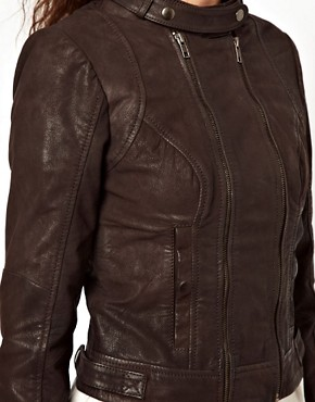 Image 3 ofVero Moda Collarless Leather Jacket