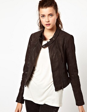 Image 1 ofVero Moda Collarless Leather Jacket