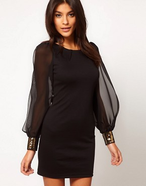 Image 1 ofASOS Bodycon Dress with Embellished Chiffon Sleeve
