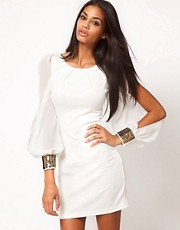 ASOS Bodycon Dress with Embellished Chiffon Sleeve