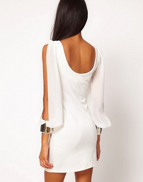 Image 2 ofASOS Bodycon Dress with Embellished Chiffon Sleeve