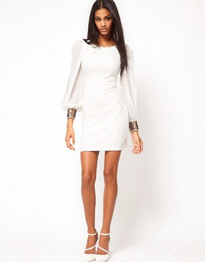 Image 4 ofASOS Bodycon Dress with Embellished Chiffon Sleeve