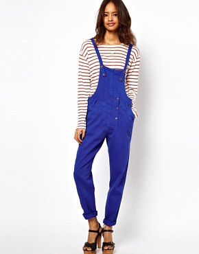 Image 1 ofASOS Coloured Denim Dungarees in Colbalt Blue