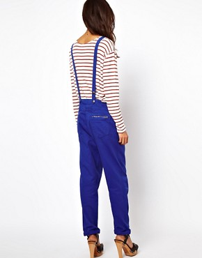 Image 2 ofASOS Coloured Denim Dungarees in Colbalt Blue