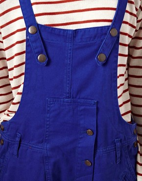 Image 3 ofASOS Coloured Denim Dungarees in Colbalt Blue