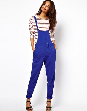 Image 4 ofASOS Coloured Denim Dungarees in Colbalt Blue