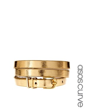 Image 1 of ASOS CURVE Metallic Metal Keeper Super Skinny Waist Belt