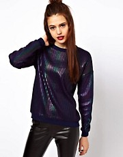 ASOS Jumper In Oil Slick Foil
