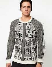 Diesel Sweater K-Eranthe Crew Neck Knit Pattern