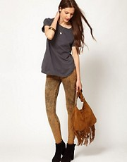7 For All Mankind Bleached Overdyed Skinny in Brown