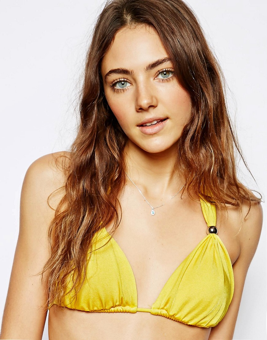 Ginja By Baku Platinum Grecian Triangle Bikini Top - Yellow