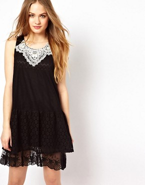 Image 1 ofMina Lace Mix Dress