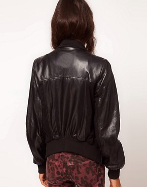 Image 2 ofReligion Poste Draped Leather Jacket