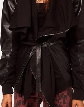 Image 3 ofReligion Poste Draped Leather Jacket